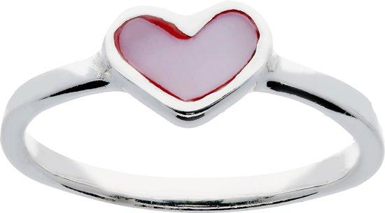 Lilly ring met hart - zilver - roze - mt 40