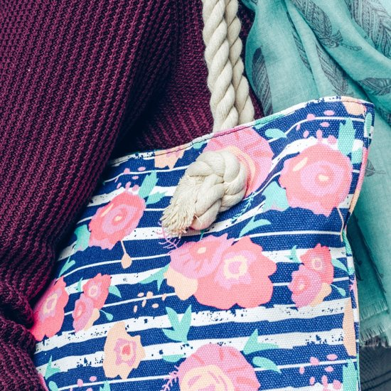 1564ed7f9b6 bol.com | Hazel & Pip Rozen & Strepen Canvas Strandtas Shopper met bijpassende  Portemonnee