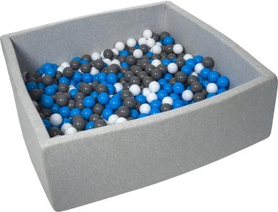 Zachte Jersey baby kinderen Ballenbak met 600 ballen, 120x120 cm - wit, blauw, grijs