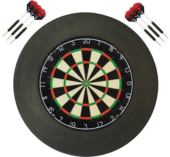 A-merk plain - dartbord - (BEST getest) + surround ring zwart + 2 sets Dragon Spider - dartpijlen