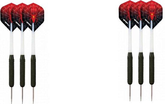 A-merk plain - dartbord - (BEST getest) + surround ring zwart + 2 sets Dragon Spider - dartpijlen