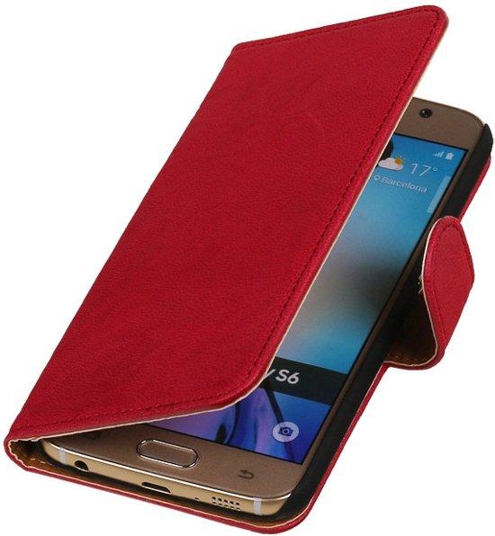 MiniPrijzen - Fuchsia Echt Leer Booktype hoesje voor de Samsung Galaxy S6 Booktype - Bookstyle - Wallet Case Book Samsung Galaxy S6 Flip Cover - Bescherm Hoes - Telefoonhoesje - Smartphone hoesje in Gytsjerksterhoeke / Giekerkerhoek