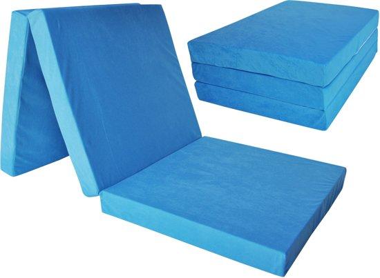 Kinder logeermatras - blauw - camping matras - reismatras - opvouwbaar matras - 120 x 60 x 6