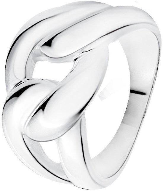Lucardi - Zilveren ring met gourmet schakel