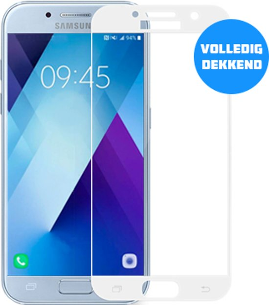 Samsung Galaxy A7 (2017) Full Cover Glazen screenprotector (WIT) | Tempered glass | Gehard glas in Zeebrugge