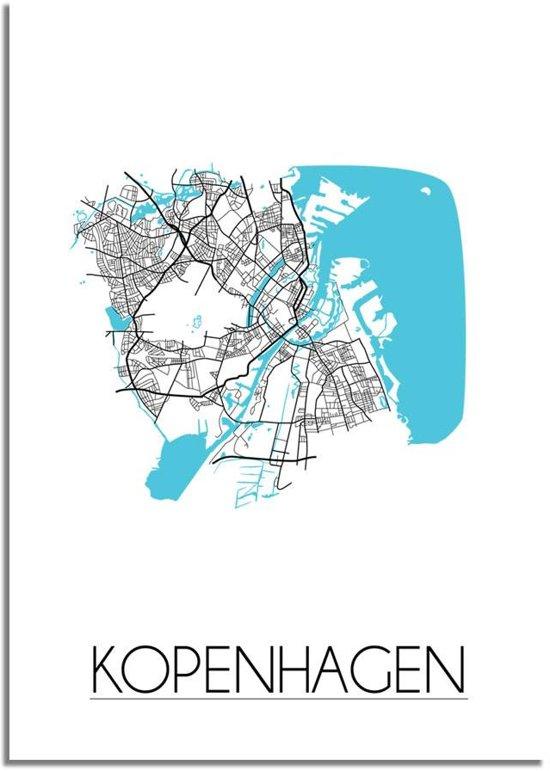 Plattegrond Kopenhagen Stadskaart poster DesignClaud - Wit - A4 + fotolijst wit