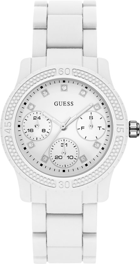 GUESS Watches Dames Horloge W0944L1 - siliconen - wit - Ø 38 mm