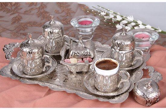 Akmetal - 4 persoons traditioneel Turkse koffieset metaal met porselein