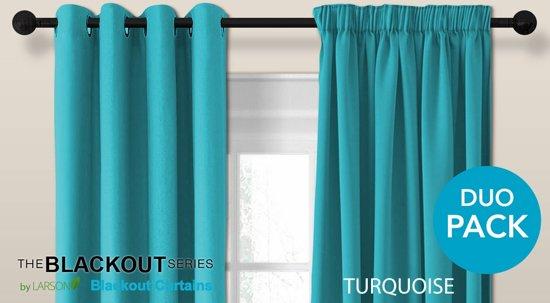 luxe blackout gordijn met ringen turquoise 3x25m verduisterend kant en klaar