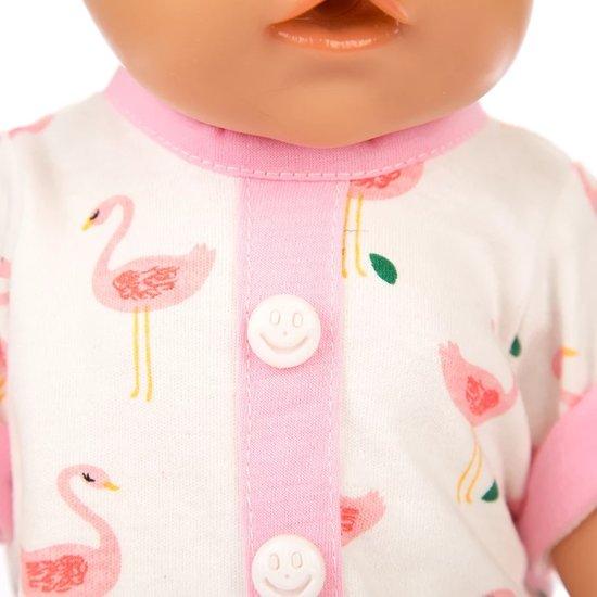 Poppenkleertjes - geschikt voor Baby Born - pyjama - flamingo - roze - met muts en slofjes - slaapkleding - nachtkleding