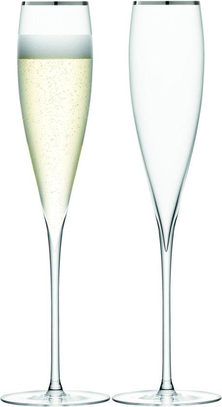 LSA Savoy Champagneflute - Glas - 200 ml - Set van 2 Stuks - Platinum
