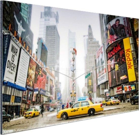 Yellow Cabs in NYC Aluminium 90x60 cm - Foto print op Aluminium (metaal wanddecoratie)