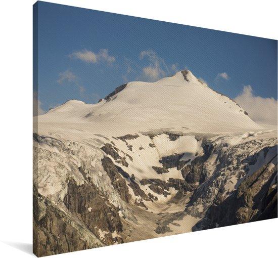 Zon beschijnt een gletsjer in het Nationaal park Hohe Tauern in Oostenrijk Canvas 120x80 cm - Foto print op Canvas schilderij (Wanddecoratie woonkamer / slaapkamer)