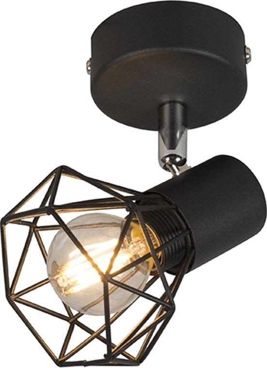 QAZQA mosh - Plafond spot - 1 lichts - L 90 mm - Zwart