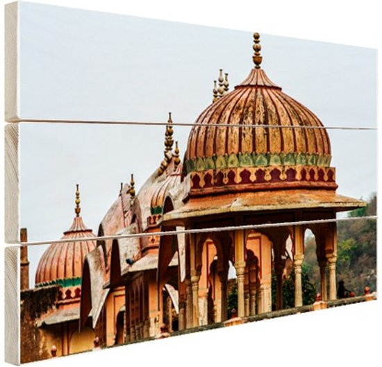 Galtaji Tempel India Hout 30x20 cm - klein - Foto print op Hout (Wanddecoratie)