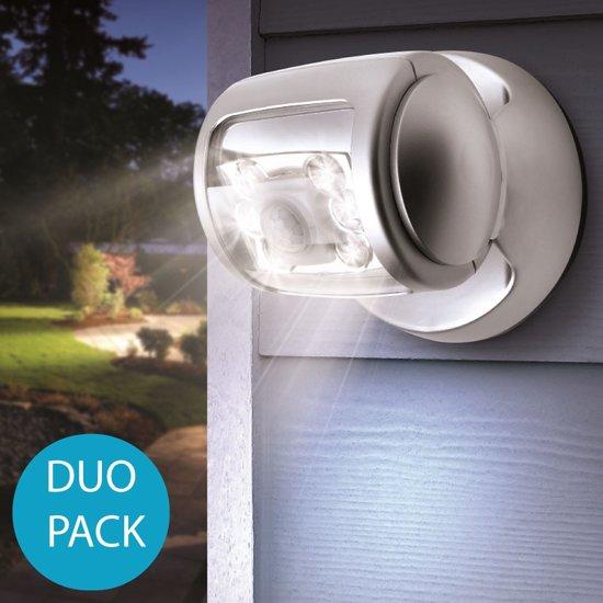 the white series draaibare en draadloze led lamp met bewegingssensor duo verpakking