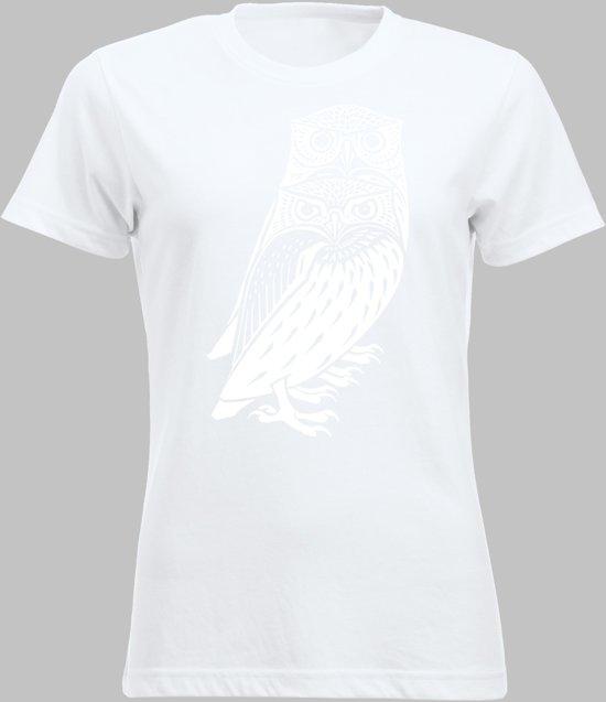 T-shirt V Twee bosuilen - Wit - V - XXL Sportshirt