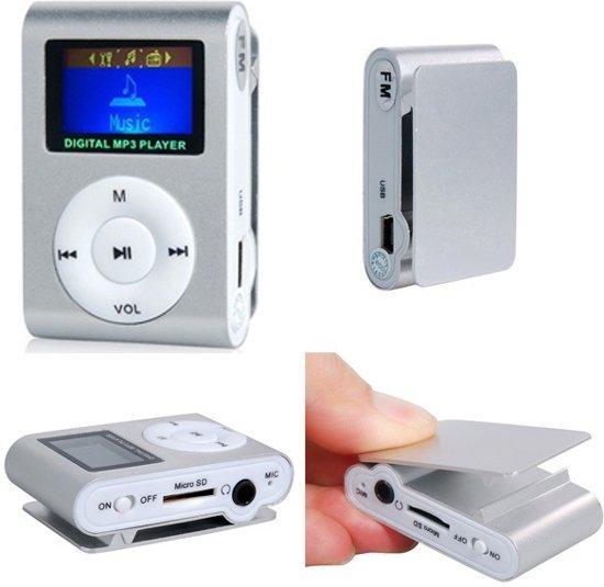 Mini clip MP3 speler FM radio met display Zilver en in-ear koptelefoon