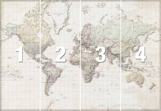 Nederlandstalige wereldkaart  - Fotobehang 368 x 254 cm - Papier