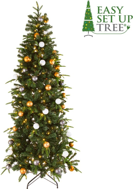 Kerstboom met versiering Easy Set Up Tree® LED Avik Decorated Bronze 180 cm - Luxe uitvoering - 240 Lampjes Valentinaa