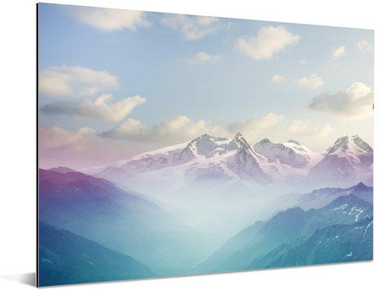 Een winterlandschap tijdens de ochtend Aluminium 40x30 cm - klein - Foto print op Aluminium (metaal wanddecoratie)