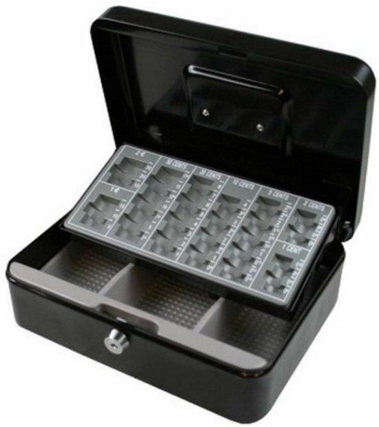 Afbeelding van Geldkistje zwart | Geldkist met sleutel | kistje met Inleglade | Geldkisten