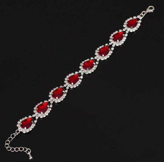 Armband met strass steentjes - zilverkleurig met rood