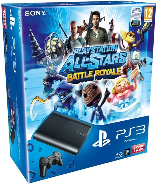 Sony PlayStation 3 Console 12GB Super Slim + 1 Wireless Dualshock 3 Controller + PlayStation All-Stars: Battle Royale - Zwart PS3 Bundel