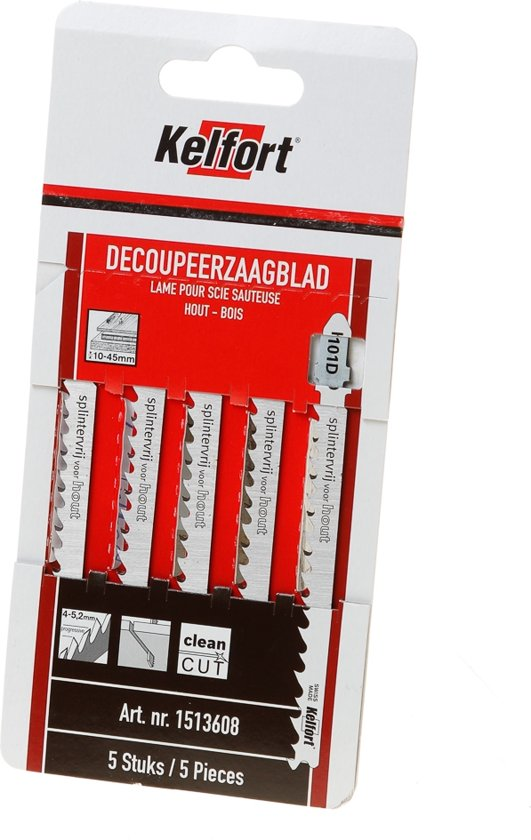 Kelfort Decoupeerzaagblad hout KT101D blister van 5 zaagjes