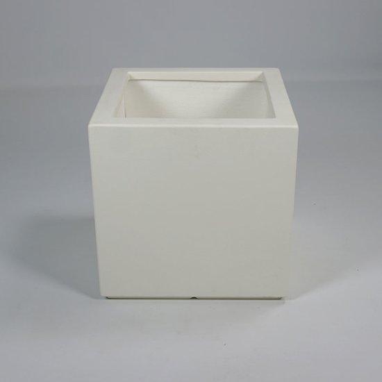 Vierkante polyester plantenbak Wit 50 x 50 cm