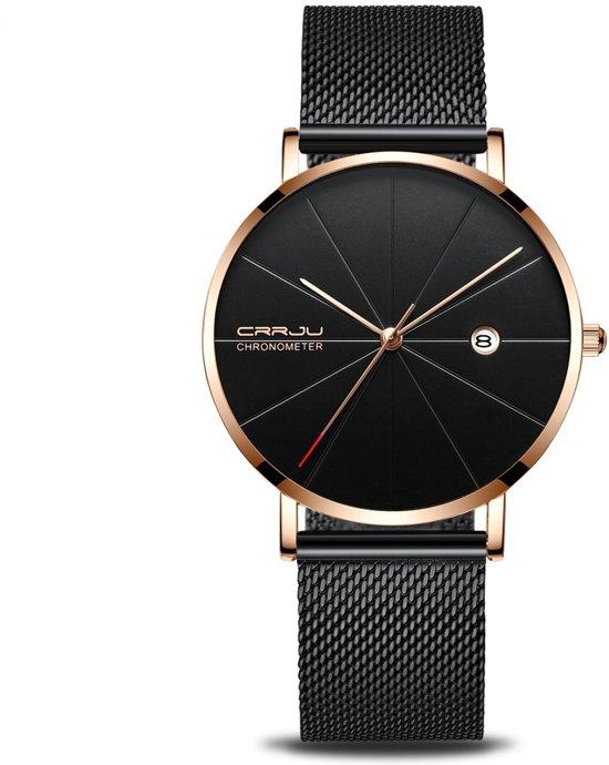 Crrju Unisex Horloge Kast Zwartrosé Band Messing 40mm Productvideo