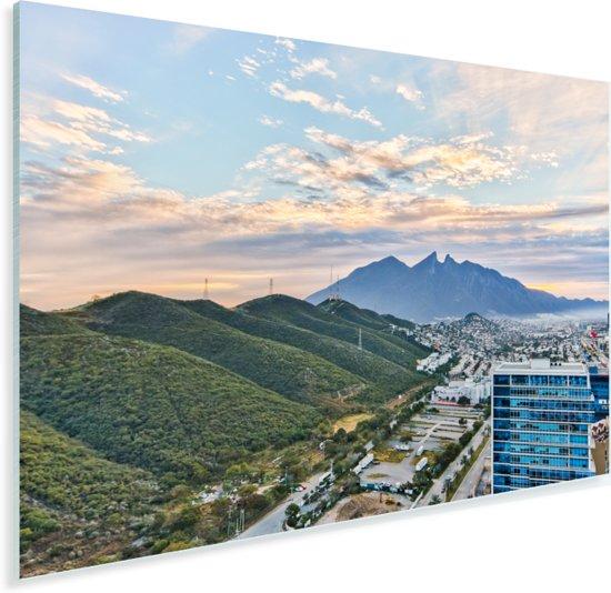 De groene bergketen die langs Monterrey loopt Plexiglas 180x120 cm - Foto print op Glas (Plexiglas wanddecoratie) XXL / Groot formaat!