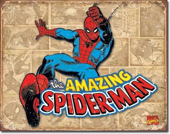 Retro Spiderman Wandbord 'Retro Panels' - Metaal - 30 x 40 cm