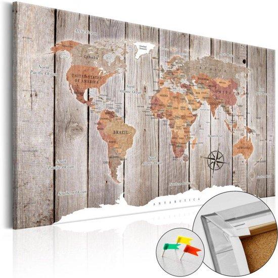 Afbeelding op kurk - Wereld op hout, wereldkaart, Canvas doek