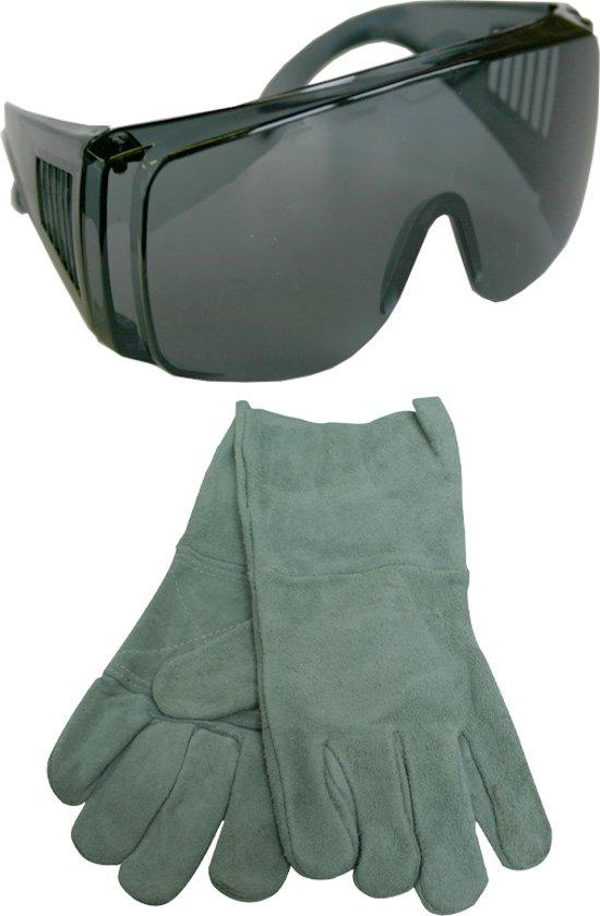 Skandia lasbril + lashandschoen rundleer XL grijs