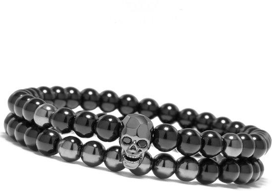 Victorious - Set Armbanden Zwarte Natuursteen - Zwarte Schedel - Vanaf 16cm