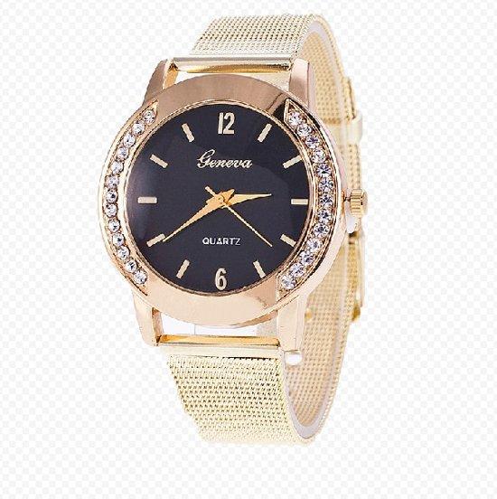 Bekend bol.com   Geneva Dames horloge Goud Casual (zwart) #ON62