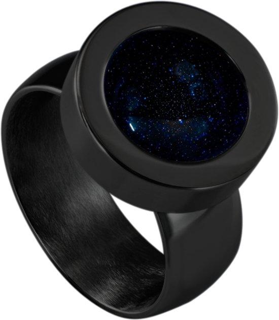Quiges RVS Schroefsysteem Ring Zwart Glans 17mm met Verwisselbare Zandsteen Blauw 12mm Mini Munt