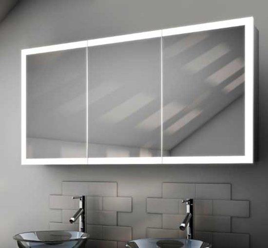 badkamer spiegelkast met design verlichting spiegelverwarming en scheerstopcontact 120x60 cm
