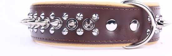 Dog's Companion Leren halsband - met spikes - 45-53 cm x 40 mm - Bruin/Naturel