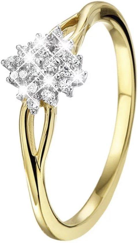 Lucardi 14 Karaat GoudenRing - Met 24 Diamanten - Maat 55