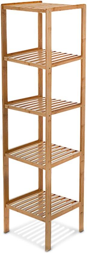bol.com | relaxdays Badkamerkast bamboe - Open kast 5 planken ...