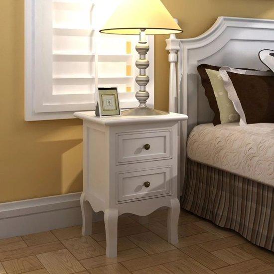 Vidaxl femke nachtkastje wit hout set van 2 - Wit hout nachtkastje ...