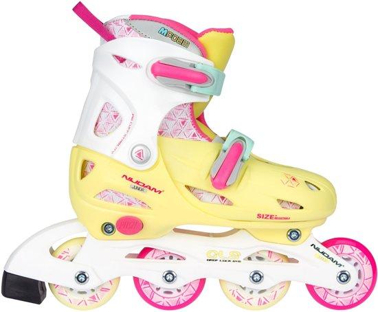 Nijdam Junior Inlineskates Meisjes Verstelbaar - Hardboot - Yellow Bird - Geel/Roze - 34-37