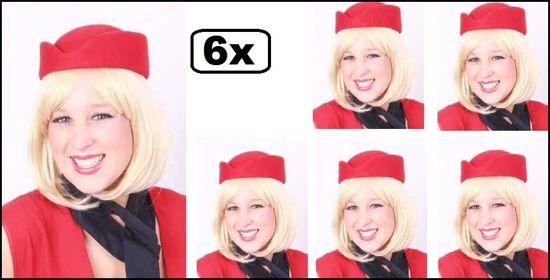 6x Stewardess hoed wolvilt rood