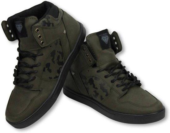 Cash Money Heren Schoenen - Heren Sneaker High - Army Khaki Black - Maten: 42