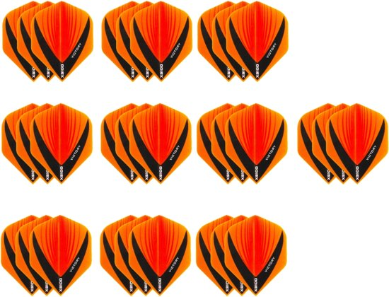 10 Sets (30 stuks) Stevige dart flights XS100 Vista - darts flights - Multipack - Oranje
