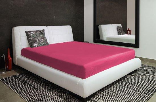 Katoenen hoeslaken 200x220 cm met elastieke band donker roze