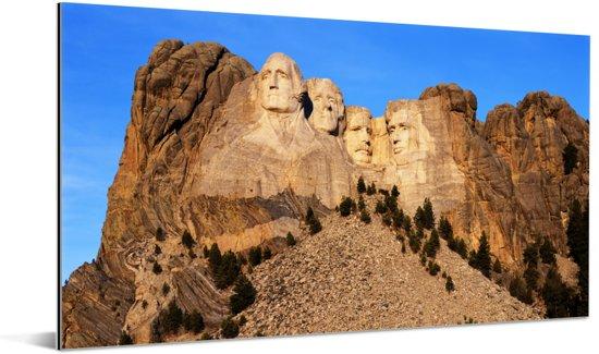 De Amerikaanse Mount Rushmore in South Dakota tijdens een zonnige dag Aluminium 160x80 cm - Foto print op Aluminium (metaal wanddecoratie)