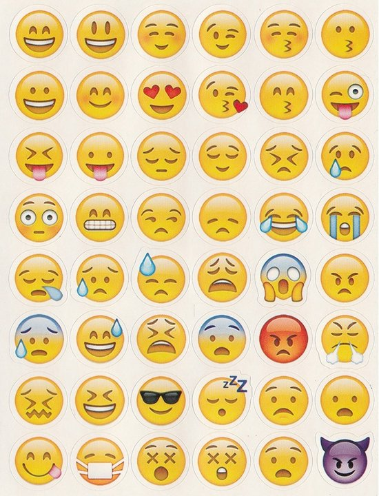 144 stuks Smiley Emoji Stickers (3velletjes)